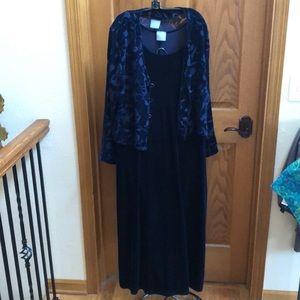 Blue velvet dress and jacket